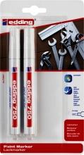 , Viltstift edding 750 lakmarker rond 2-4mm blister à 2 stuks wit