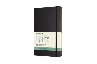 , Moleskine 12 MND Agenda - 2021 - Wekelijks Horiz. - Large (13x21 cm) - Zwart - Harde Kaft