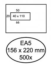 , Envelop Hermes EA5 156x220mm venster 4x11links zelfkl 50stuk