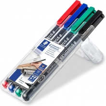 , Viltstift Staedtler Lumocolor 313 permanent S set à 4 stuks assorti