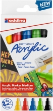 , Acrylmarker edding e-5100 medium set van 5 kleuren basis