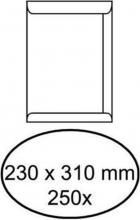 , Envelop akte 230x310mm zelfklevend 100gr wit 250stuks