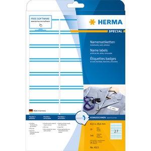 ,Naambadge etiket Herma 4513 63.5x29.6mm wit/blauw