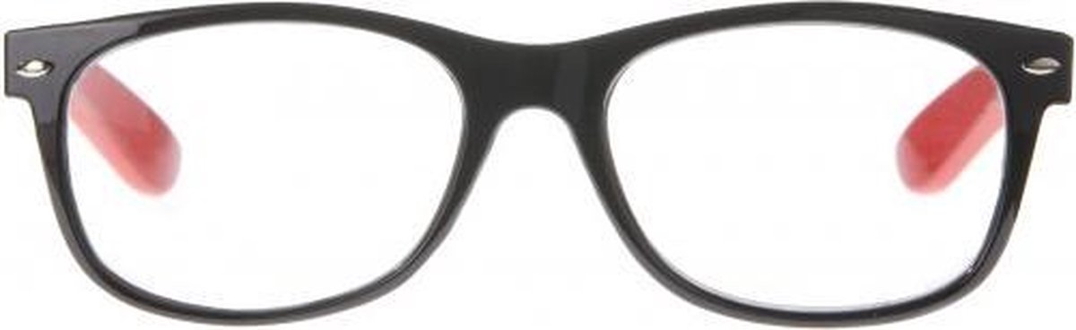 Ncr013,Leesbril icon black front, fiery red  temples, silver detail 2.00