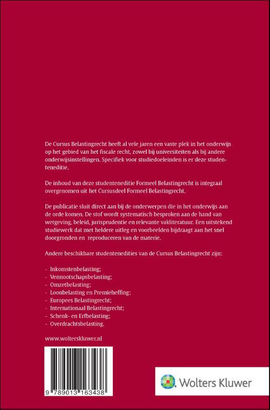 ,Cursus Belastingrecht Formeel Belastingrecht Formeel belastingrecht2021-2022