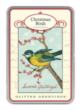 Christmas Birds Glitter Greetings Postcards