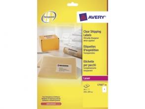 , laseretiket Avery 210x297mm transparant 25 vel 1 etiket per vel