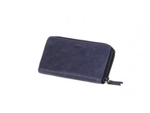 , Portefeuille Mika blauw Leer 19,5x10,5x3cm