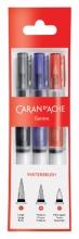 , Penseel Caran d`Ache medium, breed , fibre tip set à 3st