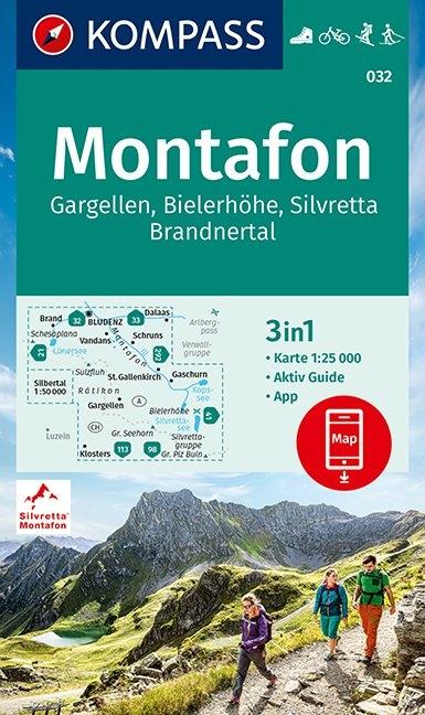 KOMPASS-Karten GmbH,KOMPASS Wanderkarte Montafon, Gargellen, Bielerhöhe, Silvretta 1:25 000