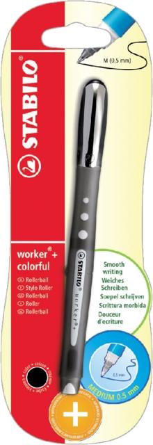 ,Rollerpen STABILO worker 0.5mm colorful zwart blister