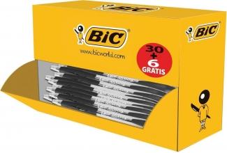 , Balpen Bic Atlantis classic 0.32mm zwart doos à 30+6 gratis