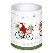 , Kaars met  kerstpoppetjes op fiets