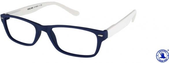 , Leesbril X +1.00 Feeling Blauw-Wit