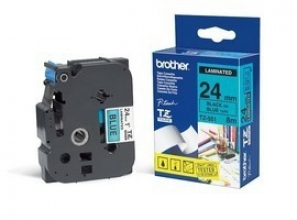 , Labeltape Brother P-touch TZE-551 24mm zwart op blauw