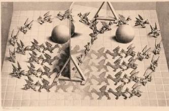 Puz-833 , Puzzel toverspiegel - m.c. escher - 1000
