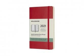 , Moleskine 12 MND Agenda - 2021 - Wekelijks - Pocket (9x14 cm) - Scarlet Rood - Zachte Kaft