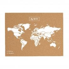 , Wereldkaart kurk L wit 60 x 45cm