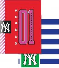 , Schrift a5 gelinieerd 3 stuks new york yankees kleurig