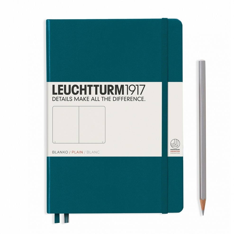 Lt359698,Leuchtturm notitieboek medium 145x210 blanco pacific blauwgroen
