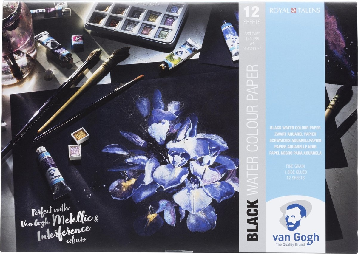 ,Talens van gogh black water colour paper 360gr a4