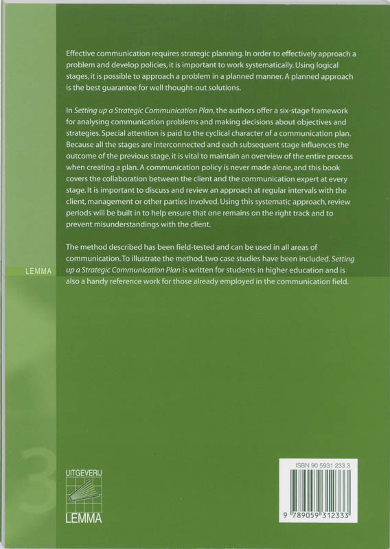 M. Vos, J. Otte, P. Linders,Setting up a Strategic Communication Plan