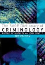 McLaughlin, Eugene SAGE Dictionary of Criminology