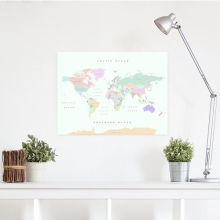 , Wereldkaart kurk L Retro 60 x 45cm
