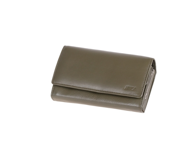 ,Portefeuille Mika taupe Leer 17x 10 x 4,5 cm .