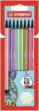 , Viltstift stabilo pen 68 etui a 8 kleuren