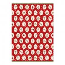 , Kerst kado papier met kerstpoppetjes rood