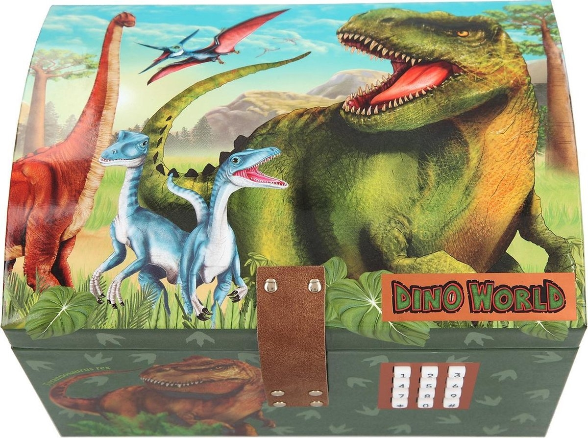 ,Dino world schatkist met code, geluid en licht