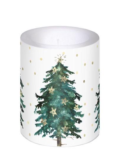 ,Kaars met kerstboom 12 cm hoog