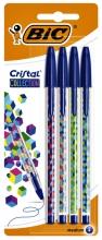 , Balpen Bic Cristal assorti medium Fun Collection blister à 4 stuks