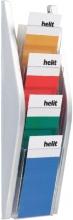 , Folderhouder Helit wand 4x1/3 A4 zilver