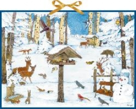 Vogelhaus im Wintergarten. Wand-Adventskalender