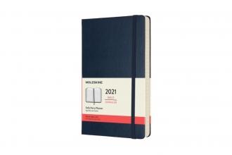 , Moleskine 12 MND Agenda - 2021 - Dagelijks - Large (13x21 cm) - Sapphire Blauw - Harde Kaft