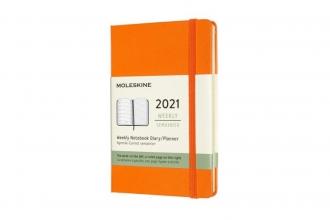 , Moleskine 12 MND Agenda - 2021 - Wekelijks - Pocket (9x14 cm) - Cadmium Oranje - Harde Kaft