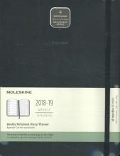 Moleskine Wochen Notizkalender, 18 Monate, 2018/2019 Xlarge, Hard Cover, Schwarz