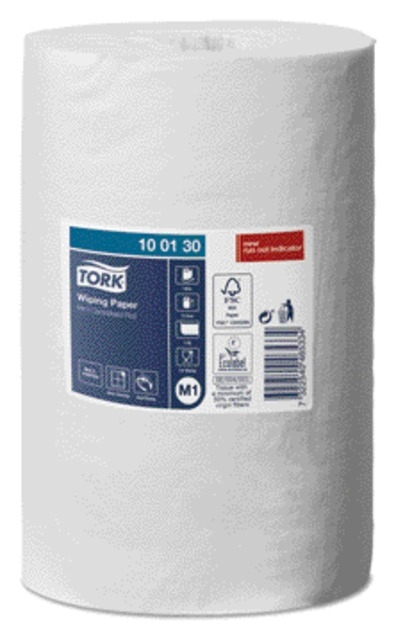 ,Poetsrol Tork M1 100130 Advanced 1laags 21.5x120m 11rollen wit