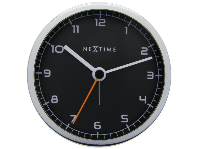 ,wekker NeXtime 9 x 9 x 7.5 cm, metaal, zwart, `Company      Alarm`