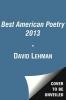 Lehman, David,The Best American Poetry 2013