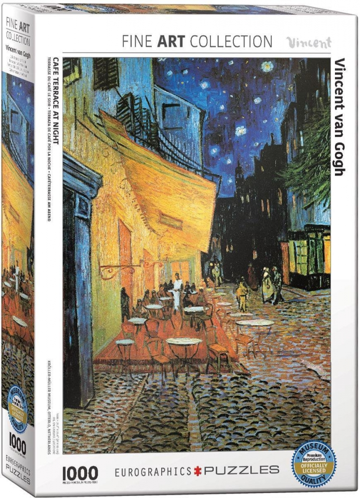 ,Puzzel eurographics cafÉ terrace at night - vincent van gogh 1000 stuks 48x68cm