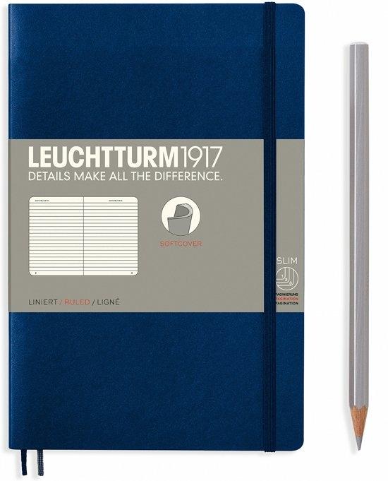 Lt358317,Leuchtturm notitieboek softcover 19x12.5 cm lijn navy blue