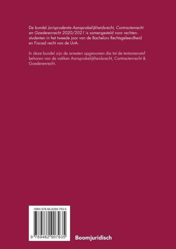 ,Jurisprudentie Aansprakelijkheidsrecht, Contractenrecht en Goederenrecht 2020/2021