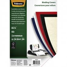 , Voorblad Fellowes A4 lederlook rood 100stuks