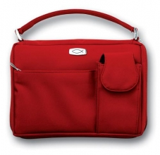 Microfiber Red With Exterior Pockets Large Book & Bible Cover
