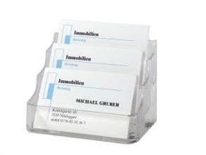 , Visitekaartenbak Sigel VA130 met 3 vakken transparant