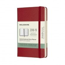 Moleskine Wochen Notizkalender, 18 Monate, 2018/2019, Pocket/A6, Hard Cover, Scharlachrot