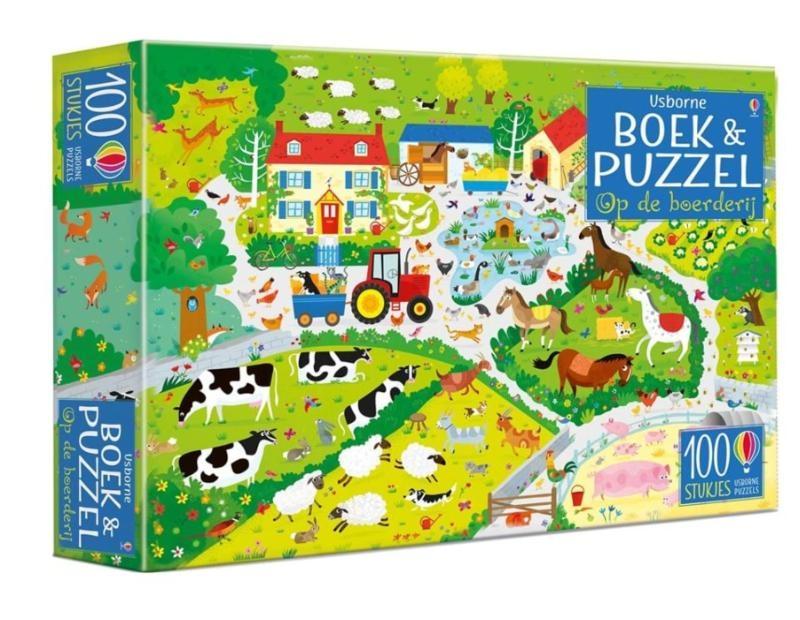 ,Op de boerderij Boek & puzzel